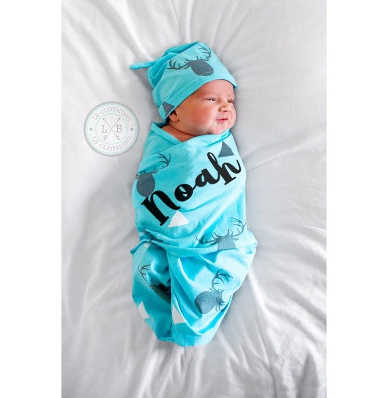 Newborn Baby Boy Blanket Newborn Swaddle Blanket image 0