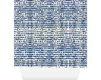 Indigo Blue Shower Curtain Dots Boho Bathroom Inkblot Lake House Decor Hippy