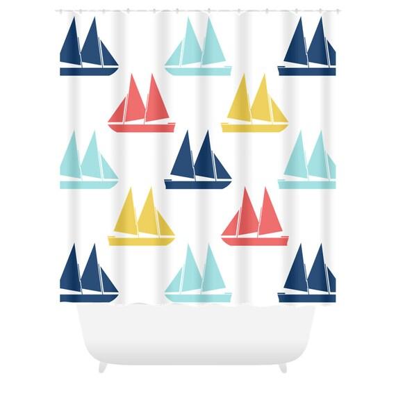 Sailboat Shower Curtain Bathroom Curtain Kids Bathroom Decor | Etsy