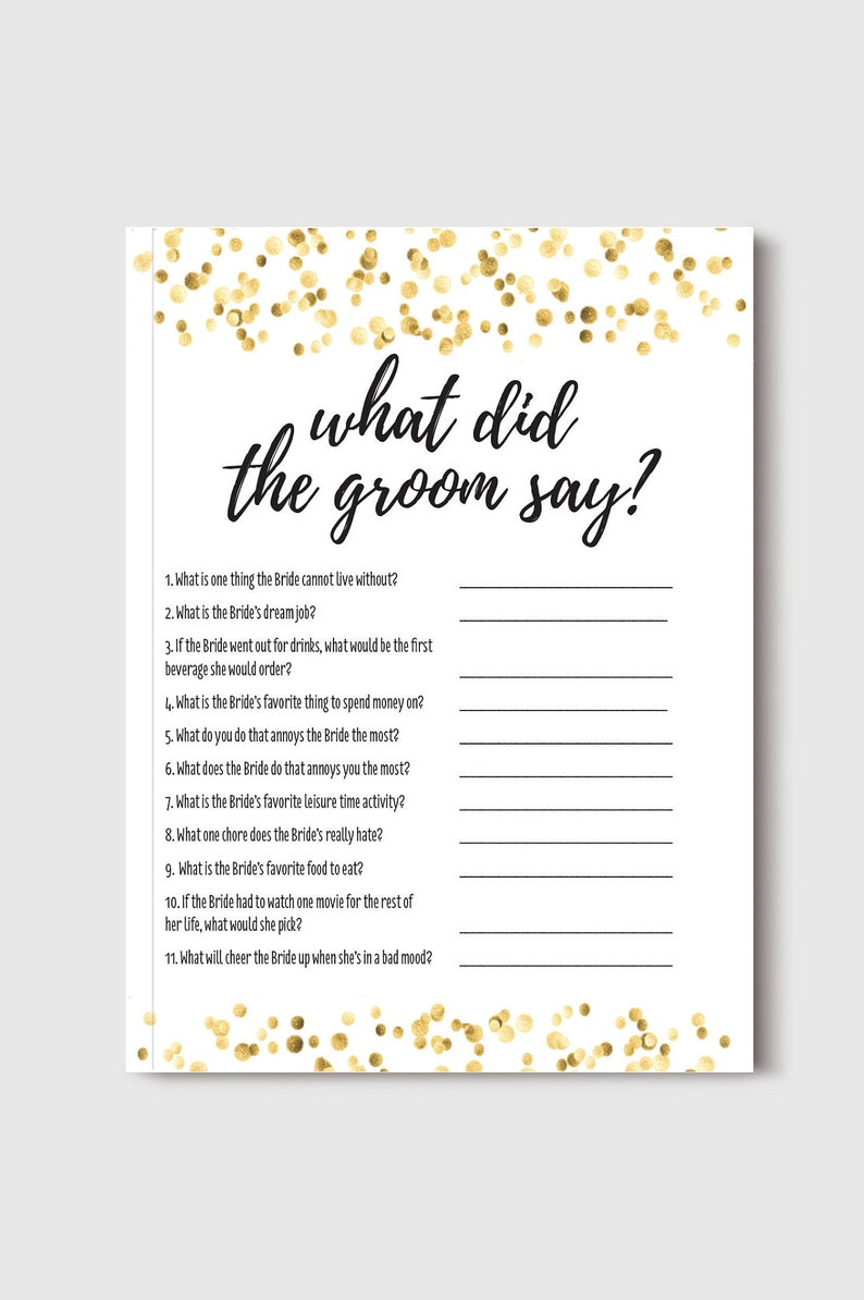 Bridal Shower Game Bachelorette Party Game What Did the Groom Say Gold Dot Confetti Themed Instant Download PDF