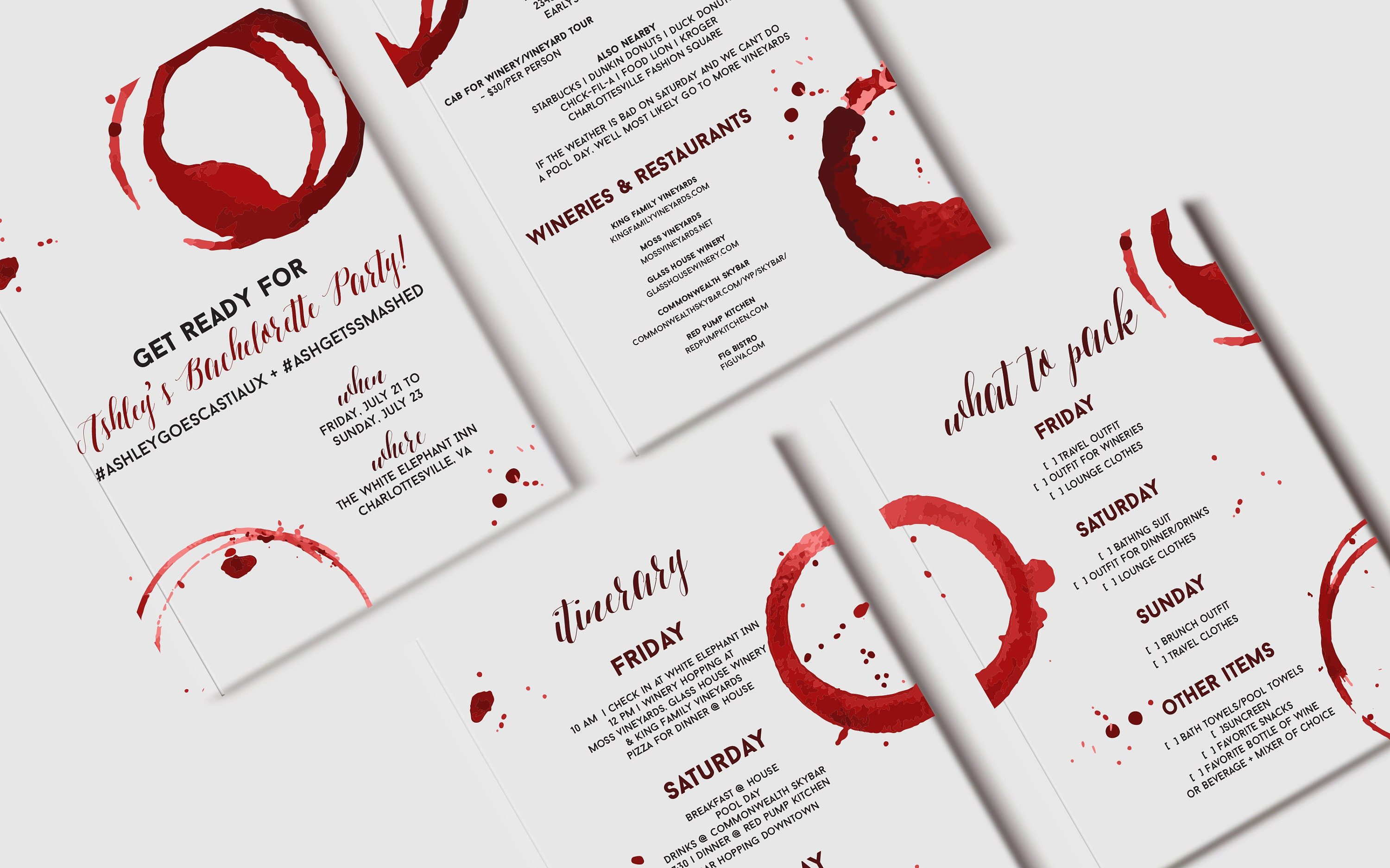 Red Wine Bachelorette Itinerary Custom Bachelorette Weekend | Etsy