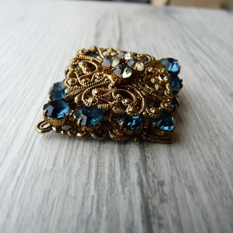 Blue sapphire rhinestone crystals filigree brooch Gray sparkly crystals Lace metal base artistic jewelry Wedding gift Gift for police wife