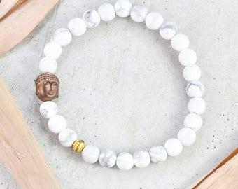 Womens Bracelet Buddha Bracelet Yoga Bracelet White Marble  Bracelet Meditation Bracelet Good Luck Bracelet Bead Bracelet Stretch Bracelet