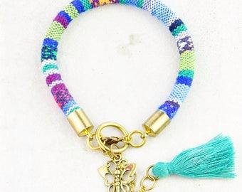 Butterfly Bracelet, Butterfly Charm Bracelet, Charm Bracelet, Tribal Bracelet, Boho Bracelet, Gift for her, Surfer Bracelet, Women Jewelry