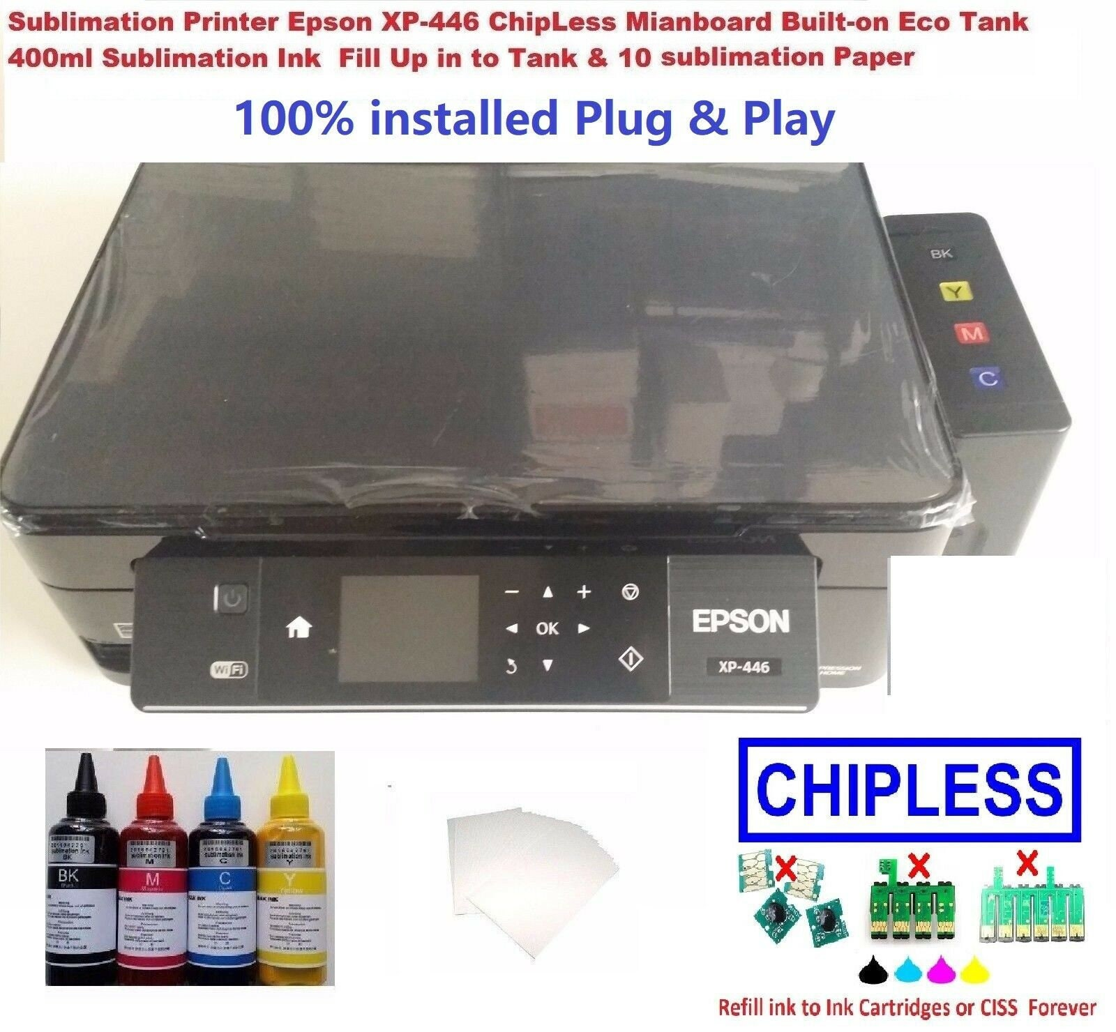 Sublimation Epson XP-446 / 442 ChipLess Mianboard Built-on Tank with Ink &  Paper
