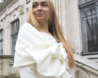 Winter warm wedding bolero, wedding shawl, wedding cape, wedding wrap, bridesmaid shawl, bridal cover up, wedding separates top, shrug scarf