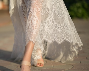 Exquisite Vintage French Lace Wedding Skirt Bridal Separates Bohemian Detachable With Train