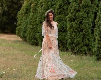 Floral Dress Beach Dress Silk Dress Boho Wedding Dress Flower Dress Mini Dress Beach Wedding Dress Plus Size Dress Painted Dress