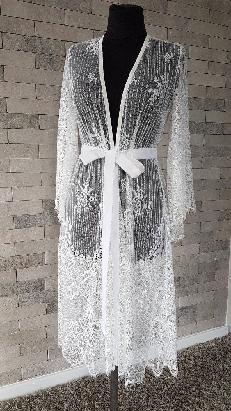 lace robe wedding robe bridal robe lace lingerie mother/'s gift for her Luxurious getting ready lace robe nightgown bridesmaids robe