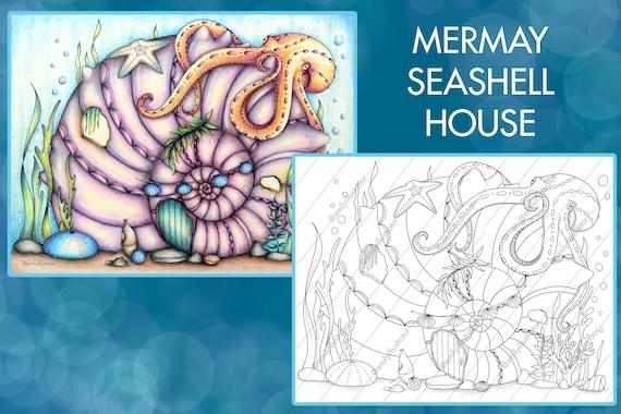 MerMay Seashell House Coloring Page