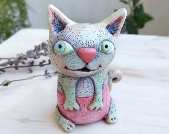 Ceramic cat figurine Ceramic kitten with a pink nose Handmade clay cat Gift for cats lover