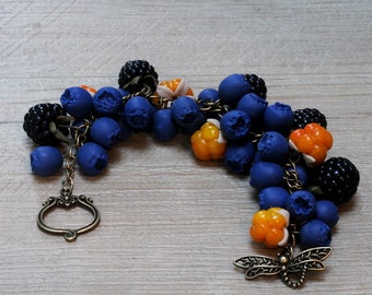 """Bracelet """"Berries"""" polimere fimo clay"""