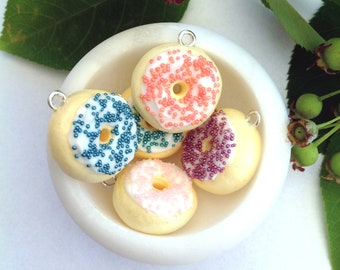 Pastel Donuts With Icing And Dot Sprinkles Polymer Clay Charms