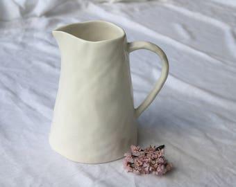 Ceramic jug, cream color, Keramikkrug, water jug, jarra de cerámica, home decoration, Minimalist Home Decor,  white/cream vase.