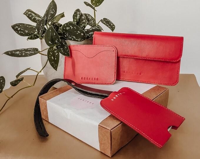 TRIO BOX - Ajándékcsomag Bőr Pénztárca kiegészítőkkel