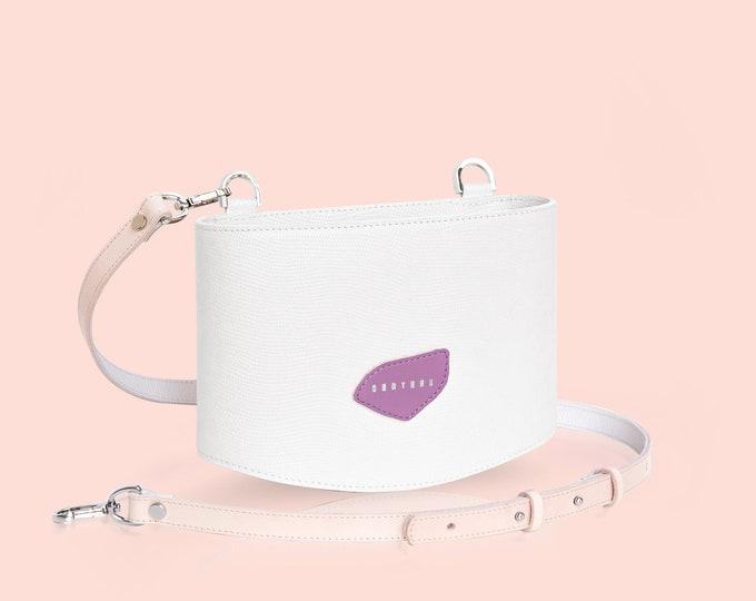 SERTEES POCI White Leather Crossbody Bag
