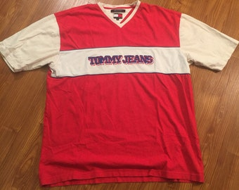 90s Vintage Tommy Hilfigher V Neck T Shirt