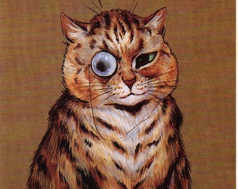 Colourful Louis Wain Cats Cat With Monocle FREE UK SHIPPING