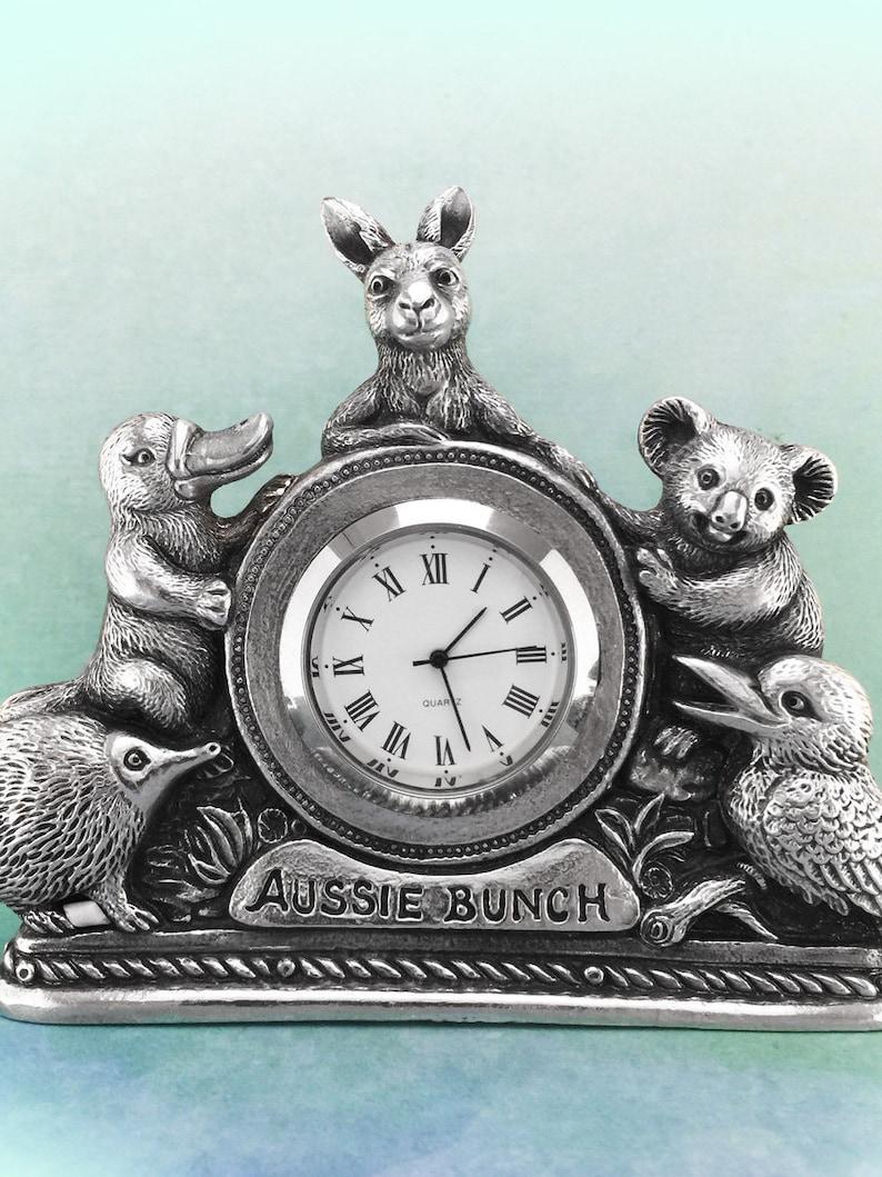 Aussie Bunch Australian Souvenir Clock, Australian Made Pewter Gift, Australian Seller, Australian Art