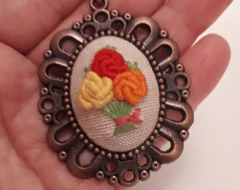 Handmade Embroidery Roses Pendant Necklace