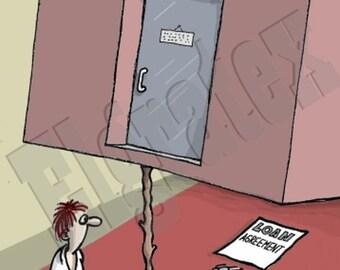 "Color Hand-Drawn Cartoon, Downloadable, Funny Digital Comic, Cartoons, humor art gift - ""Loan trap"""
