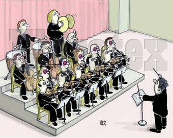 """Color Hand-Drawn Cartoon, Downloadable, Funny Digital Comic, Cartoons, humor art gift - """"Don't sit next to the violinists"""""""