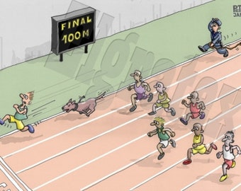 """Color Hand-Drawn Cartoon, Downloadable, Funny Digital Comic, Cartoons, humor art gift - """"Athlete being chased by a dog"""""""