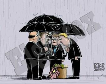 "Color Hand-Drawn Cartoon, Downloadable, Funny Digital Comic, Cartoons, humor art gift - ""Compassion"""
