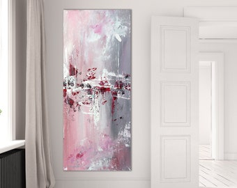 Narrow vertical extra large artwork / pink & grey abstract wall art / made to order in custom size up to 120 inches