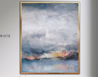 Extra large minimalist sunrise painting  abstract landscape painting  made to order in custom size  Cloudy Morning