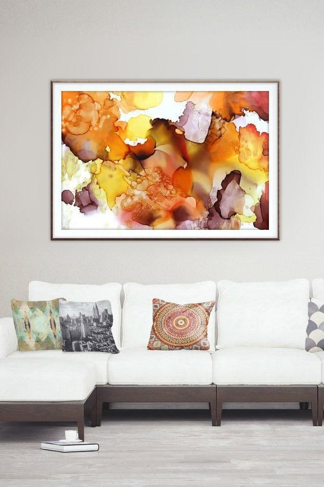 Alcohol ink art.Brown.Yellow.Orange.Downloadable prints.Wall art ...