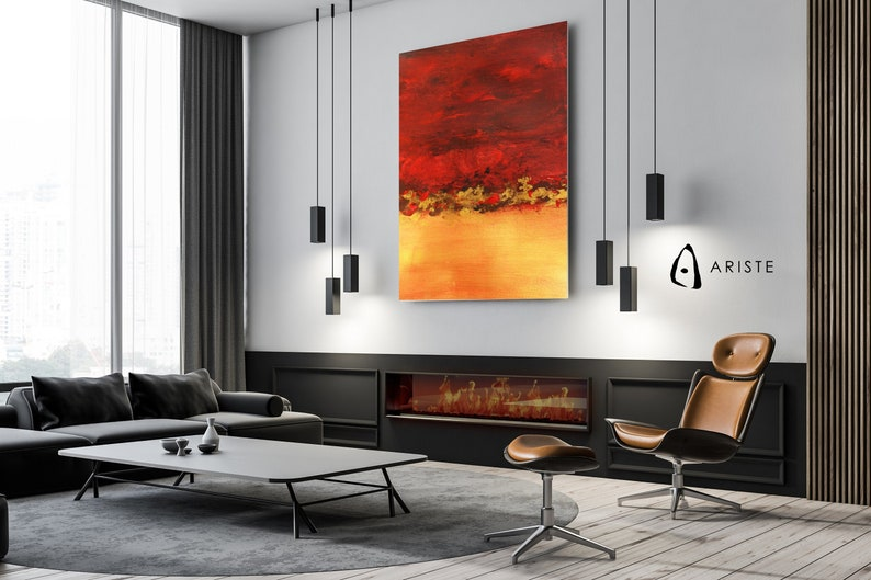 Red /& gold extra large wall art  minimalist vertical wall art  office wall art  made to order in custom size up to 120 inches