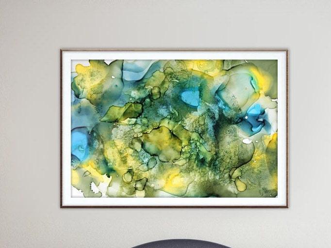 Alcohol ink art.Olive green.Blue.Downloadable prints.Wall art prints ...