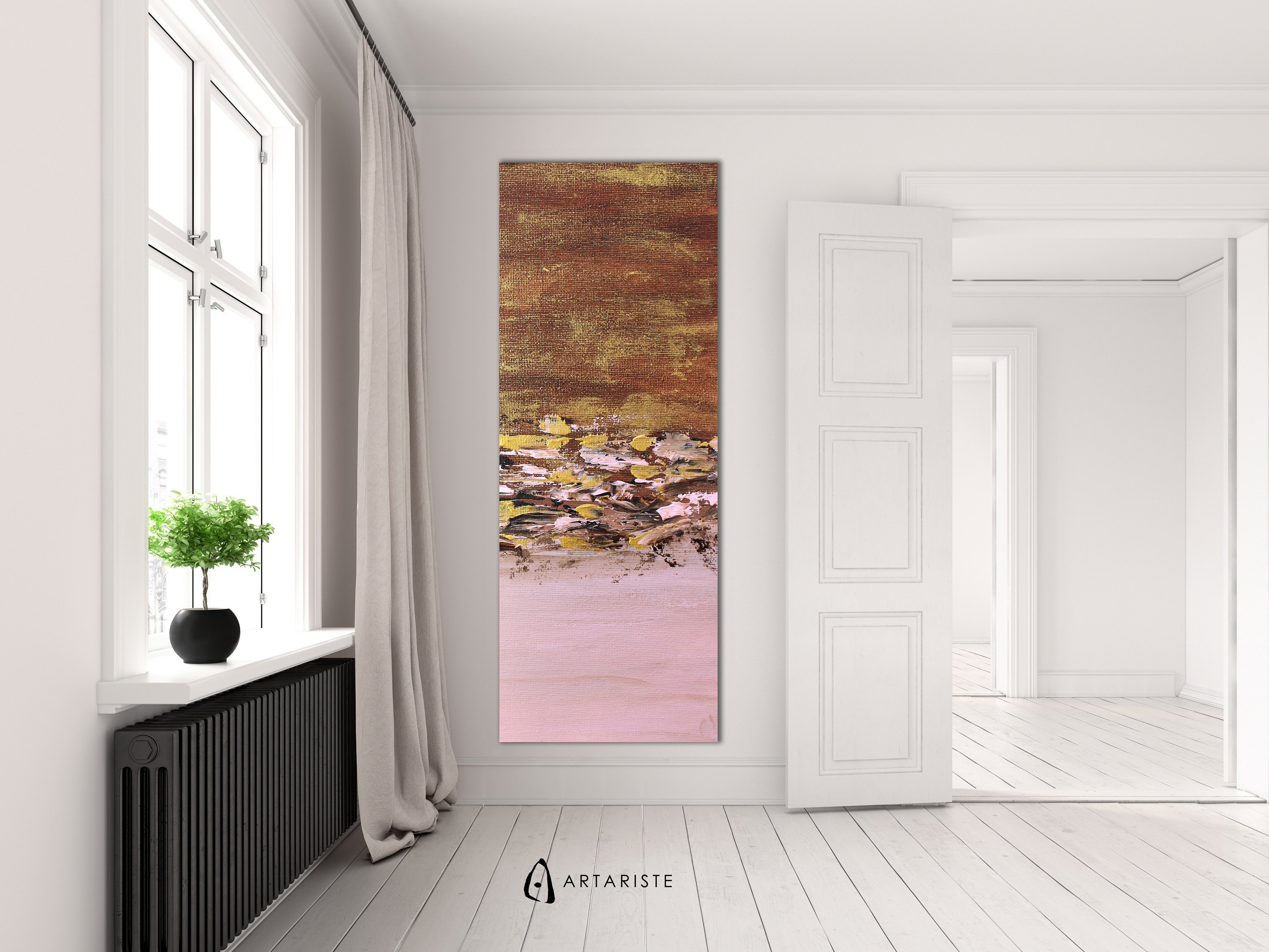 Narrow wall art pink gold abstract vertical wall art abstract pink gold extra large wall art vertical painting oversized wall art