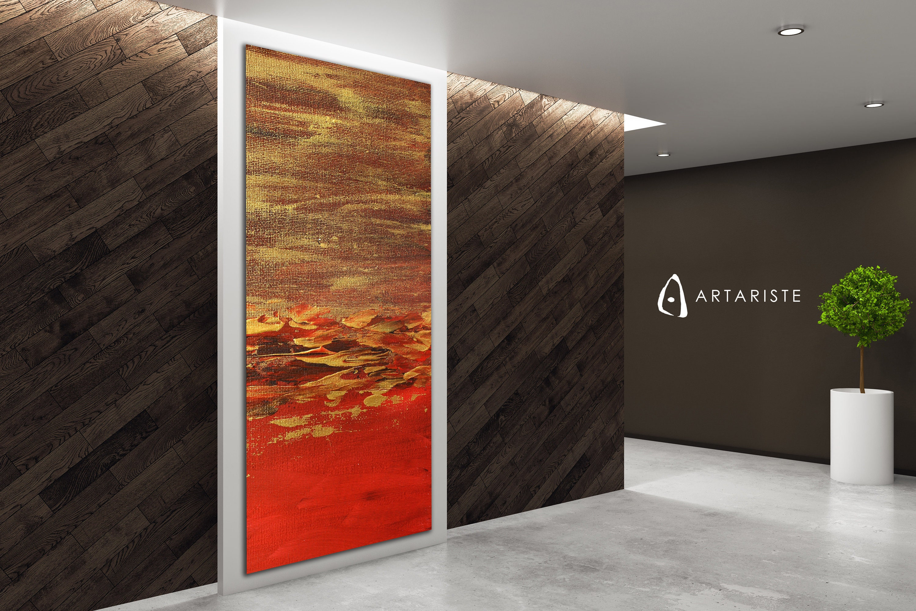 Narrow wall art abstract red gold vertical wall art extra large wall art red and gold abstract vertical painting oversized wall art