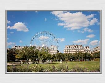 Paris Photography, Ferris Wheel Decor And Art, Ferris Wheel Scene Poster, Digital Download Print