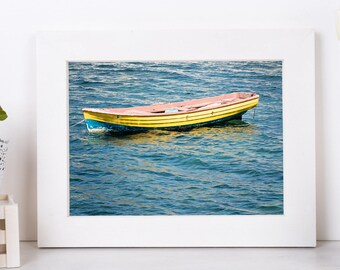 Boat Photography, Sea Decor And Art, Sunflower Poster, Digital Download Print, Boat Wall Art, Living Room Art