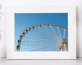 Ferris Wheel and Blue Sky Photography, Ferris Wheel Decor And Art, Budapest Eye, Warm Colors Art, Digital Download Print