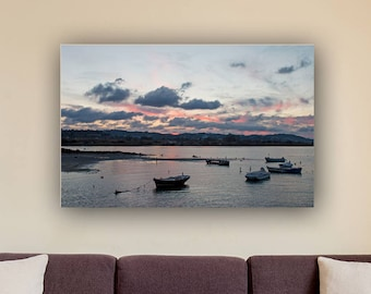 Boat Photography, Sea Decor And Art, Sunset Poster, Digital Download Print, Boat Wall Art, Living Room Art