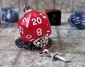 D20 Necklace: D and D necklace DnD necklace D20 jewelry DnD