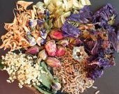 Wiccan floral herbal bath tea Flowers herbs assortment Pot-pourri Orange flower Blue mallow Rose bud Hops Lemon balm Elder flower Lavender