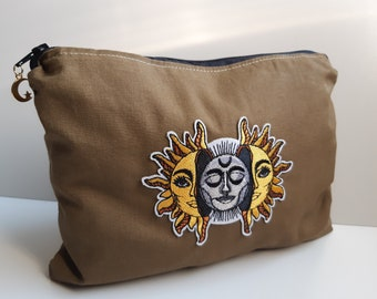 Flat toiletry kit Zipped pouch Moon Sun Wicca Pagan Unique piece Gift