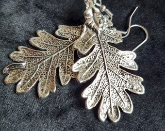 Earrings Woman Oak Leaves Witchy Witchy Botanical Silver Color