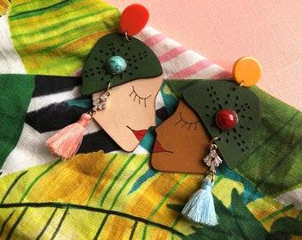 black lives matter earrings Leather earrings tassel earrings