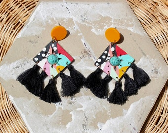 Nessa Hand Painted Leather Earrings