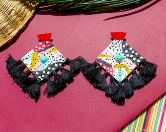 Nayette Hand Painted Leather Earrings