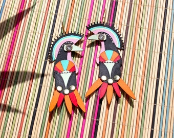 Deco Birds Hand Painted Leather Earrings