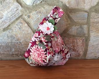 Japanese Knot Handbag in Red Mum Print with Flower Embellishment