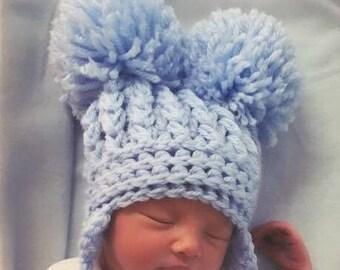 Crochet Pattern for Double Pom Pom Hat