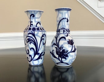 """Vintage Bombay Blue and White Chinoiserie Double Happiness Style Vases Set Bombay Company 8"""" tall"""
